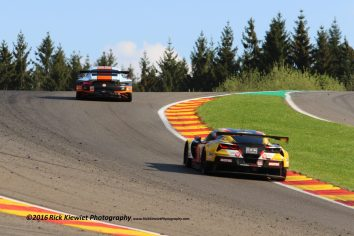 #86 Gulf Racing Porsche 911 RSR - Michael Wainwright, Adam Carroll, Ben Barker chased by the #50 Larbre Competition Chevrolet Corvette C7-Z06 - Yutaka Yamagishi, Pierre Ragues, Paolo Ruberti during the 2016 FIA WEC 6hrs of Spa Francorchamps, from may 4th to 7th in Belgium.