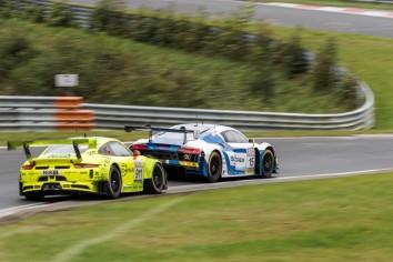 Phoenix Racing Audi R8 LMS GT3 - F. Stippler / 'Dieter Schmidtmann' Manthey Racing Porsche 911 GT3 R - K. Estre / M. Cairoli